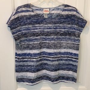 Ruby Rd. Sleeveless Top in blue and white stripes